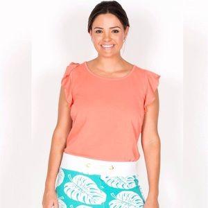 Tracy Negoshian peach Kayla ruffle sleeve tank